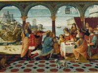 """BERNARDINO DE' DONATI  """"Enea alla corte di Didone"""" olio su tavola, 1520 circa, cm 89 x 134 Museo Borgogna, Vercelli, Italia"""