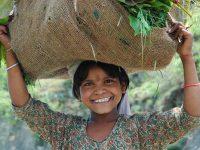 Alta valle del Gange, ragazzina con un carico d'erba (foto: Aldo Pavan © Mondointasca)