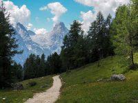 Il Laudo e le Cime di Malquoira (gruppo-Sorapìss) nei pressi del rifugio Carpi (Foto: Max Raschilla © Mondointasca)