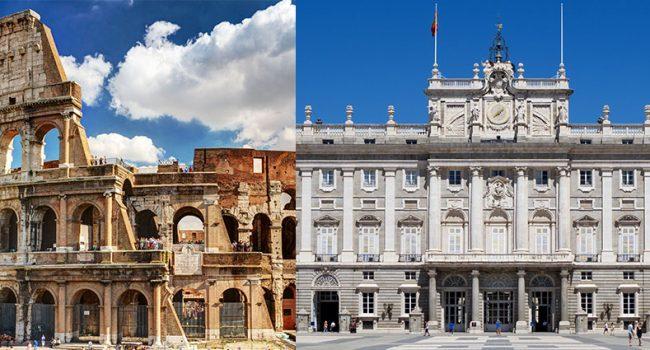 Roma, il Colosseo; Madrid, Palazzo Reale