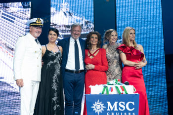 MSC Seaview Comandante-Pier-Paolo-Scala-Sophia-Loren;Lorella-Cuccarini-Vago