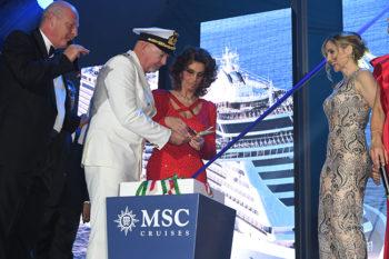 MSC Seaview Comandante-Pierpaolo-Scala-MSC-Seaview;Sophia-Loren; Lorella-Cuccarini