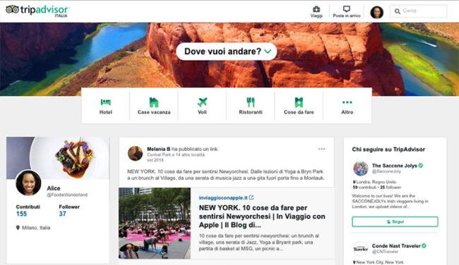 TripAdvisor sempre più social network e contenuti personalizzati