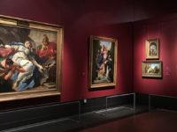 """Il Trionfo del colore. A sinistra, Pittoni: """"Morte di Sofonisba"""". Accanto a destra, Tiepolo: """"Madonna con i santi Ludovico di Tolosa, Antonio di Padova e Francesco di Assisi"""", museo Puskin (Mosca)"""