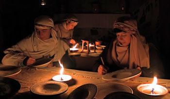 Presepe vivente ceramica notte