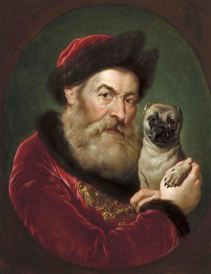 """Animali nell'arte Giacomo-Ceruti detto il Pitocchetto """"Vecchio con cane Carlino"""""""
