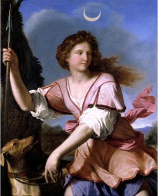 Animali nell'arte Guercino-Diana cacciatrice