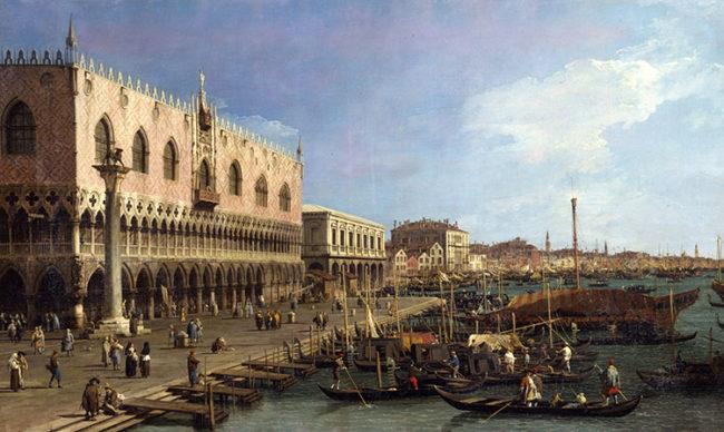 """Canaletto, """"Il molo verso est con la colonna di S. Marco"""". Milano, Raccolte d'Arte Antica e Pinacoteca del Castello Sforzesco"""