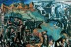 """Mario Sironi, """"L'Italia tra le Arti e le Scienze""""; 1934-1935 c., primo progetto per l'affresco dell'Aula Magna dell'Università degli Studi di Roma Sapienza del 1935, tecnica mista"""