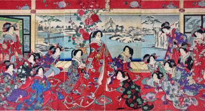 Yoshu-Chinkanobu--1838-1912-Passatempi-di-belta-femminili-in-un-giorno-nevoso-trittico-di-xilografie.