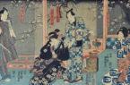 Geisha e samurai Yoshu-Chinkanobu-1838-1912-Scena-di-teatro-kabuki