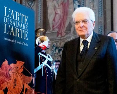 Il-Presidente-Mattarella,all'inaugurazione della mostra L'arte di salvare l'Arte