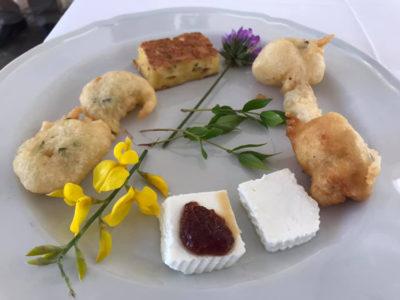 Aglianicone Cacioricotta di capra-e-zeppoline-fritte-in-abbinamento-a-Falanghina