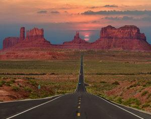 Scenic highway in Monument Valley Tribal Park in Arizona-Utah border, U.S.A.