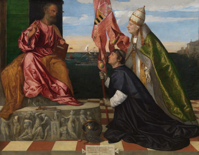 da tiziano a Rubens Titian_Jacopo-Pesaro,-Bishop-of-Paphos,-being-presented-by-Pope-Alexander-VI-to-Saint-Peter