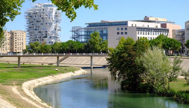 Montpellier, il nuovo quartiere di Port Marianne con l'Arbre Blanc e il fiume Lez (foto: d. bragaglia© mondointasca.it)
