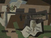 """Georges Braque, """"Chitarra, bicchiere e piatto di frutta sopra un buffet"""""""