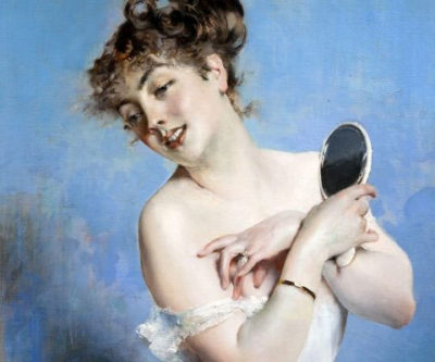 Femminile Giovanni Boldini Giovane donna con specchio