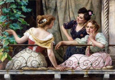femminile Stefano-Novo-Conversazione-al-balcone