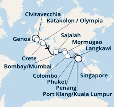Percorso-della-crociera Genova Singapore