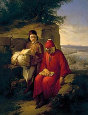 Dante nell'arte dell'Ottocento Annibale-Gatti,-Dante-in-esilio,-olio-su-tela