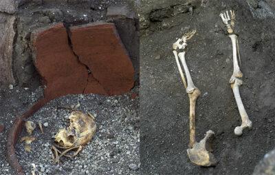 Resti di ossa umane vittime dell'eruzione