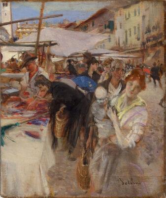"""Giovanni Boldini """"Piazza delle Erbe"""""""