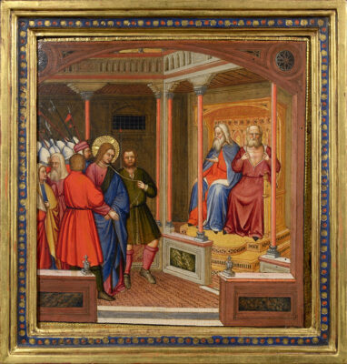 Altichiero da Verona (cerchia) Cristo davanti a Caifa Tempera su tavola Palazzo Maffei Casa-Museo, Verona Collezione Luigi Carlon