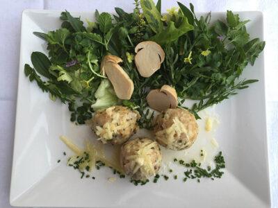 Halslhütte-Canederli-ai-porcini-su-insalata-di-erbe-selvatica