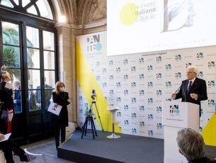 Il Presidente Sergio Mattarella alla cerimonia di inaugurazione della piattaforma digitale Dante.Global (foto Quirinale)