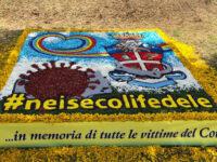 Infiorata a Castelraimondo, quadro della edizione 2020 a ricordo delle vittime del Covid-19