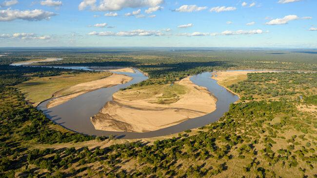 Zambia, Luangwa River vista dall'alto