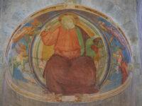 Affresco del 1506 di Bernardino del Signoraccio - Dio sorretto da quattro angeli (2021 © emilio dati - mondointasca)