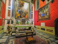 Cappella del SS. Sacramento - a dx Vergine con Bambino tra i Santi Donato e Giovanni Battista - opera di Andrea del Verrocchio e Lorenzo di Credi (1400 circa) - (2021 © emilio dati - mondointasca)